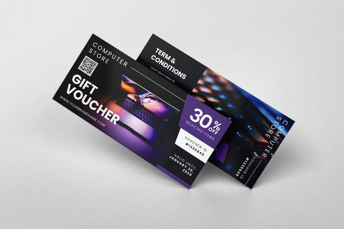 Computer Store AI and PSD Gift Voucher Template