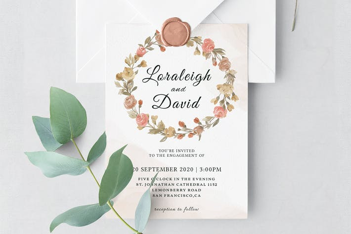 Modern Floral Wedding Invitation Template