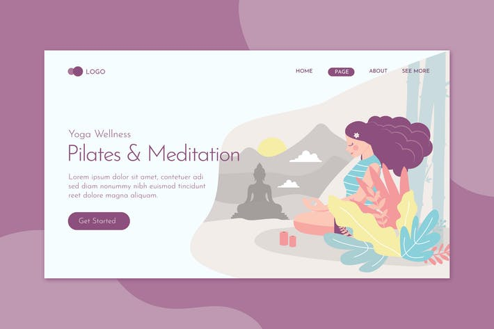 Pilates & Meditation Landing Page Flat Concept Tem