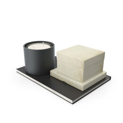 Candle And Small Box On Notebook