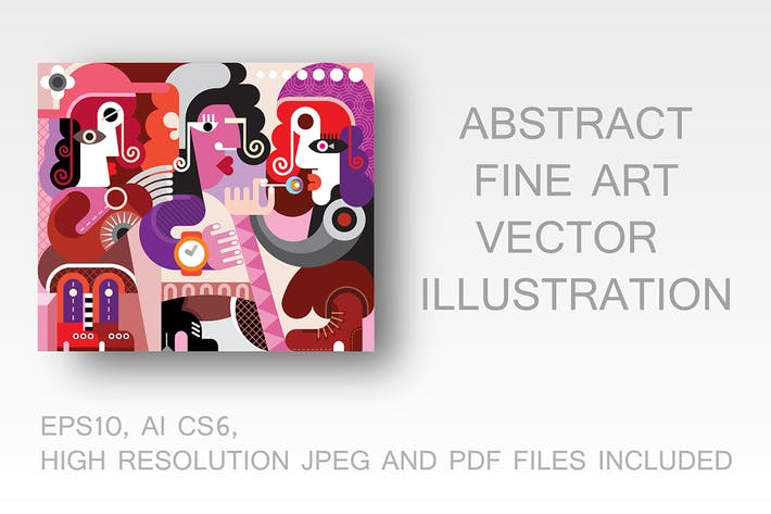 Thumbnail for Three persons abstract portrait fine art vector