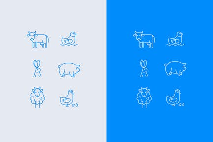 Satz von Vektor-Nutztier-Symbolen