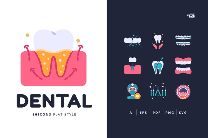 Thumbnail for 36 Dental Flat Style Icons