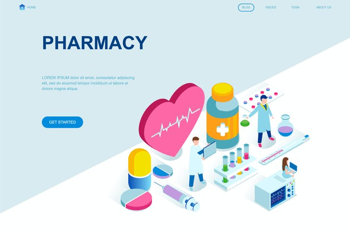 Thumbnail for Pharmacy Isometric Landing Page Template