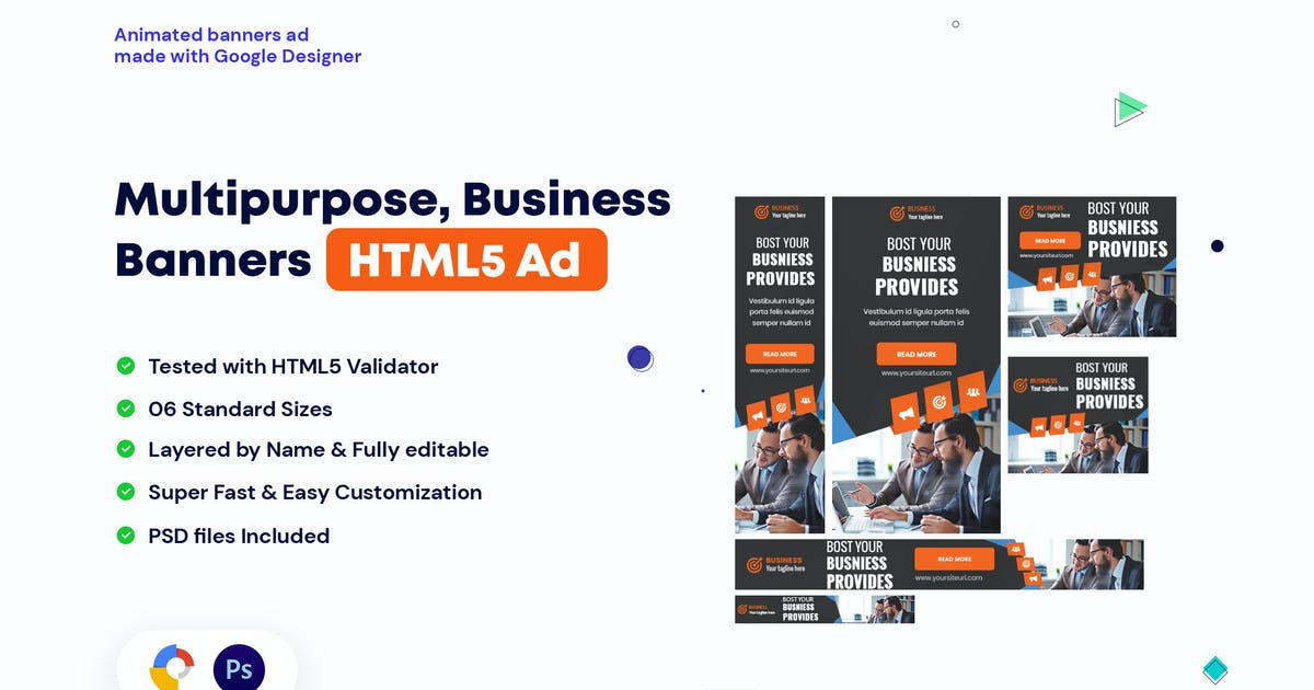 Download Multipurpose, Business, Startup Banners HTML5 Ad by iDoodle