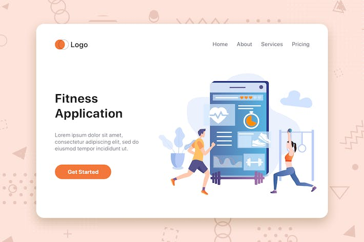Thumbnail for Fitness App flat concept for Landing page