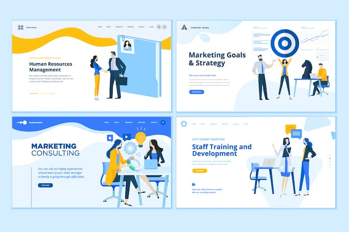 Thumbnail for Set of Business Web Page Design Templates