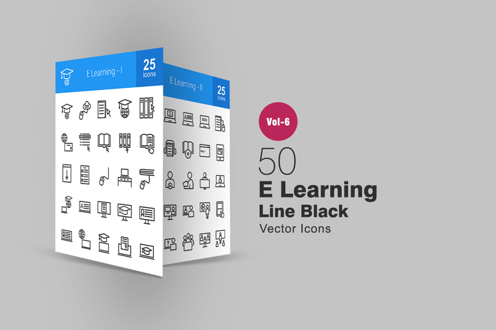 Thumbnail for 50 E-Learning Line Icons