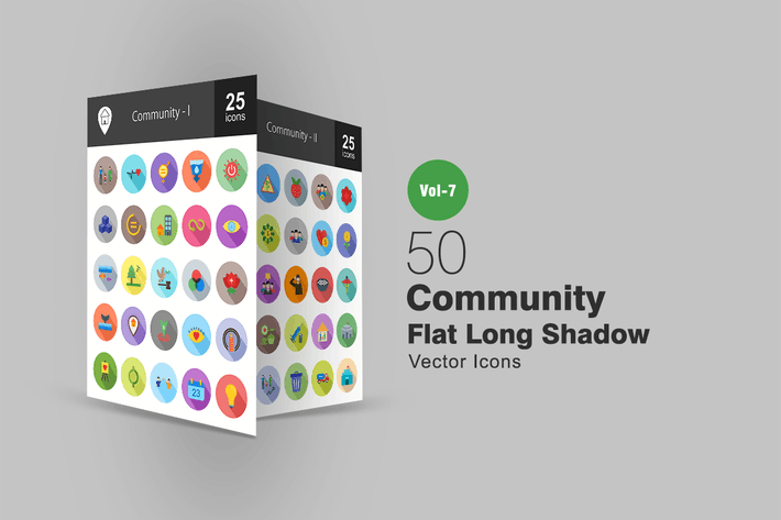 Thumbnail for 50 Community Flat Shadowed Icons