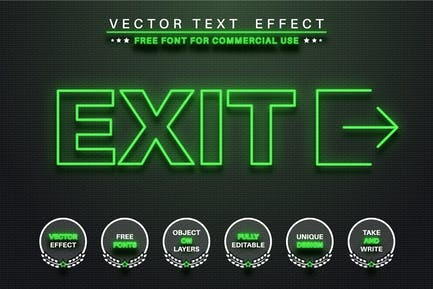 Glow outline - editable text effect, font style