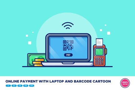 Online Payment With Laptop And Barcode Cartoon