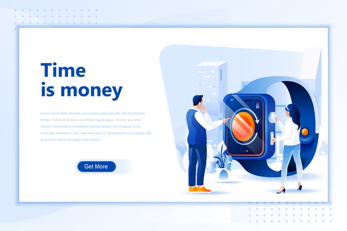 Thumbnail for Time Is Money Flat Landing Page Header