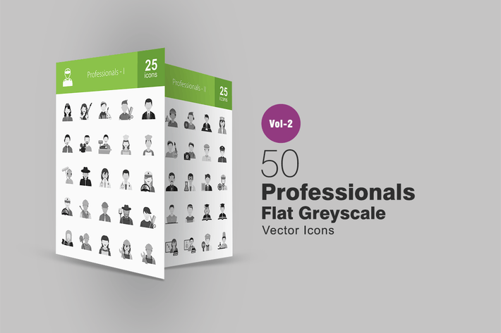 Thumbnail for 50 Professionals Greyscale Icons