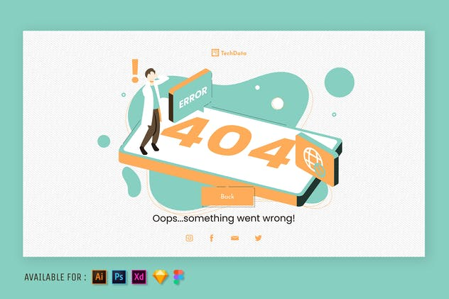 404 Page Error - Web Isometric Illustration