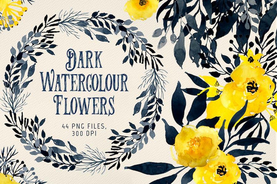 Dark Watercolor Flowers