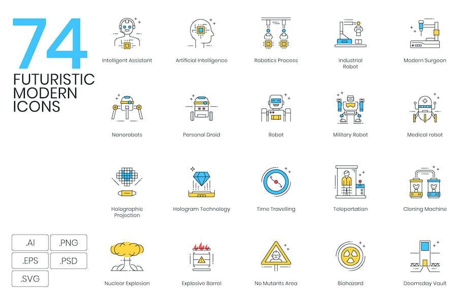 74 Futuristic Modern Icons