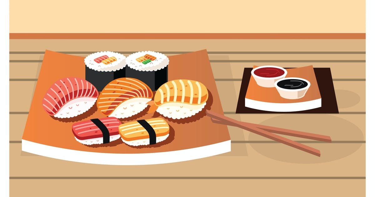 Download Various kinds of sushi served on plate by IanMikraz