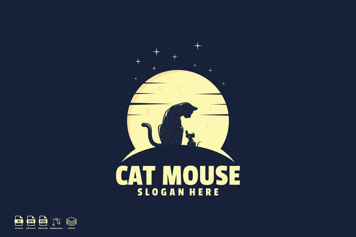 Thumbnail for cat mouse logo template