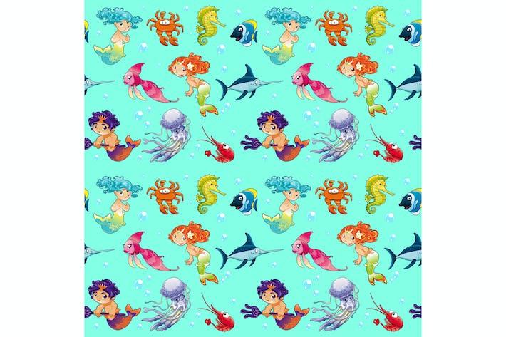 Thumbnail for Lustige Meerestiere mit Meerjungfrauen und Hintergrund