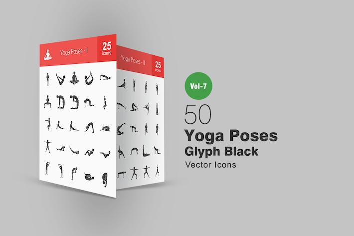 50 Yoga Poses Glyph Icons