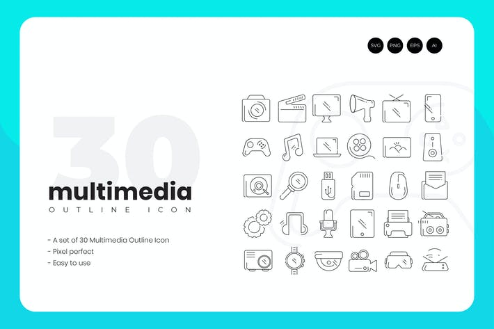 Thumbnail for 30 Multimedia Outline Icons Set