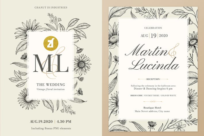 Cover Image For Floral Vintage Watercolor Wedding Invitation