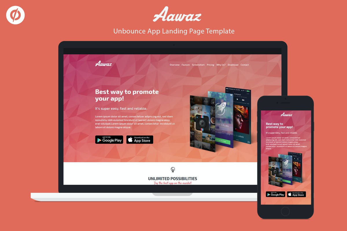 Download Unbounce App Landing Page Template - Aawaz by ILMThemes by Unknow
