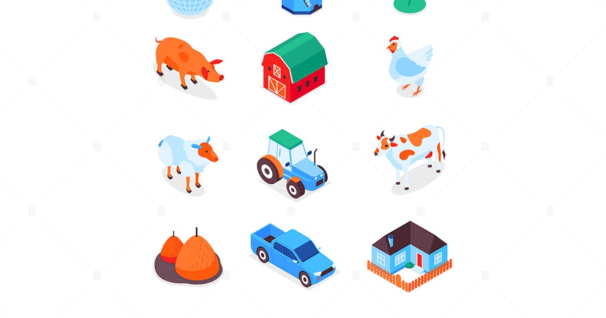 Download Farming and Agriculture - Modern Isometric Icons by BoykoPictures