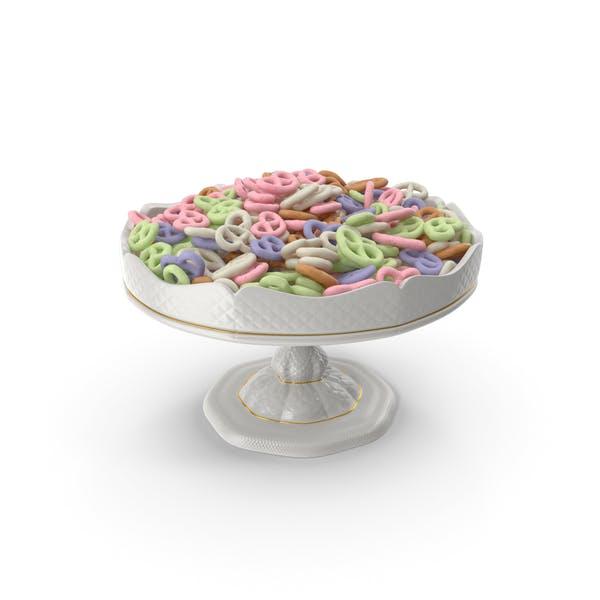 Fancy Porcelain Bowl with Yogurt Covered Mini Pretzels