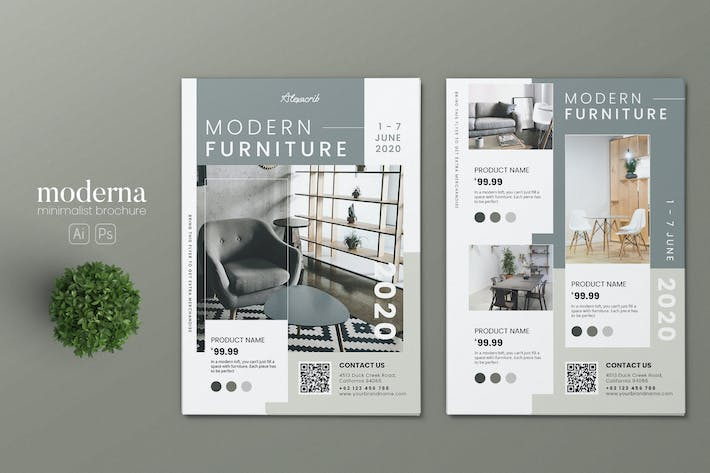 Thumbnail for Minimalist Furniture Store AI and PSD Flyer Vol.2