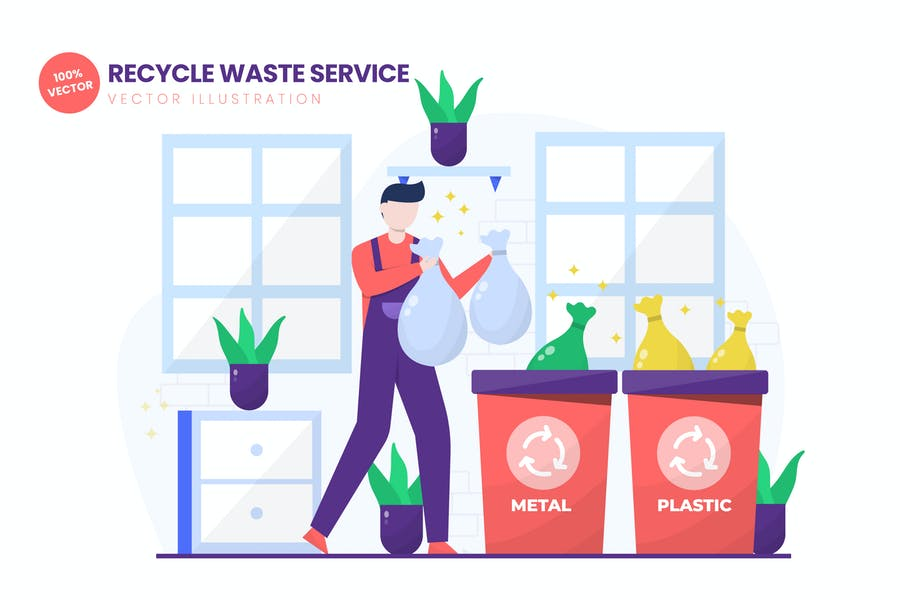 Recycle Waste Service Flat Vektor Illustration
