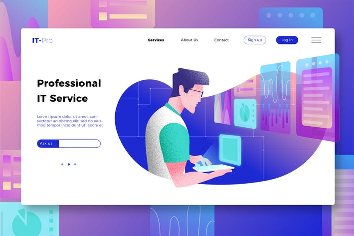 Thumbnail for Professional IT Services - Banner & Landing Page