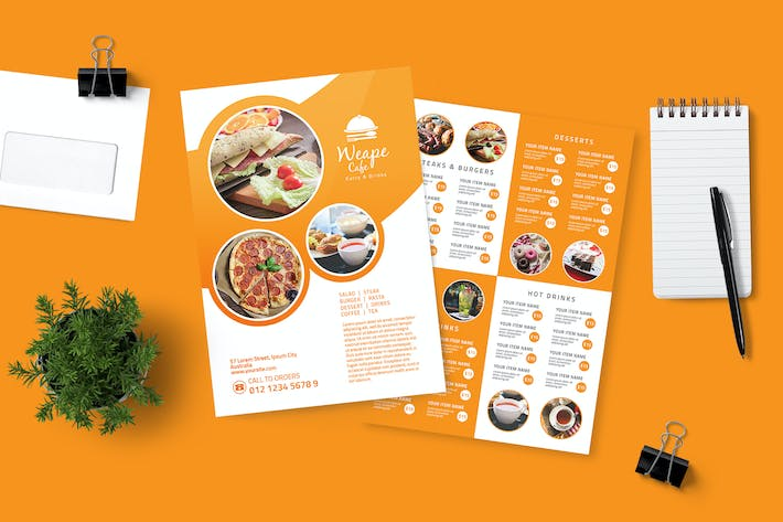 Cover Image For Orange Food Menu Flyer