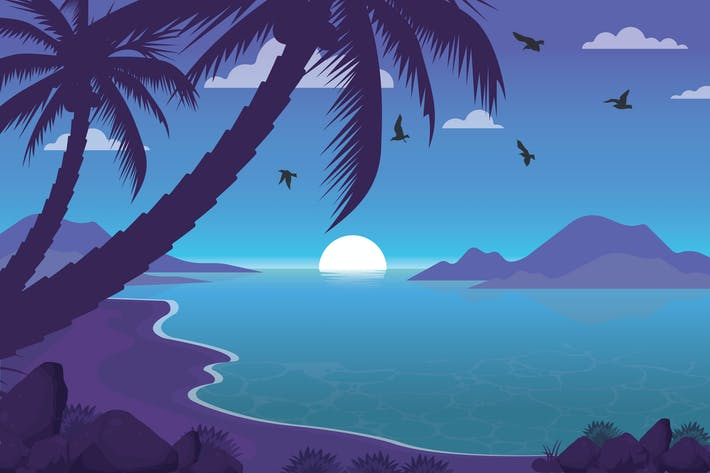 Thumbnail for Abenduntergang - Landschaft Illustration