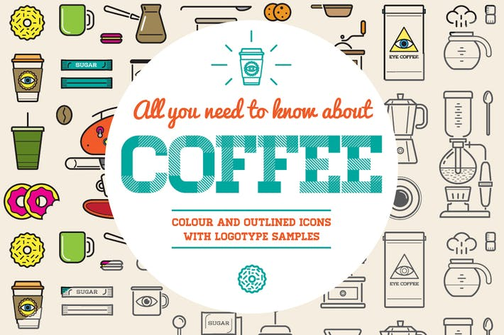 Thumbnail for Coffee Color and Outline Icons with Logotypes