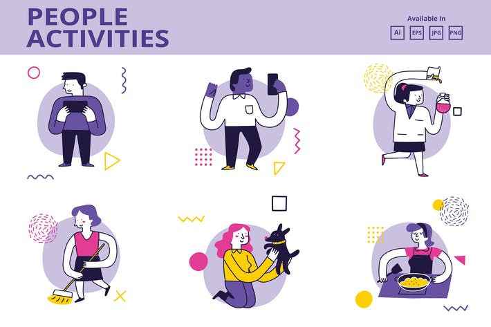 Thumbnail for People Activities doodle illustration