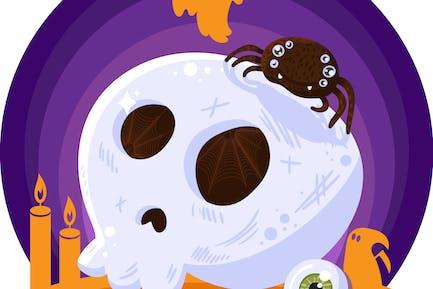 Halloween Scary Skull Illustration