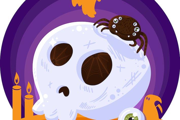 Thumbnail for Halloween Scary Skull Illustration