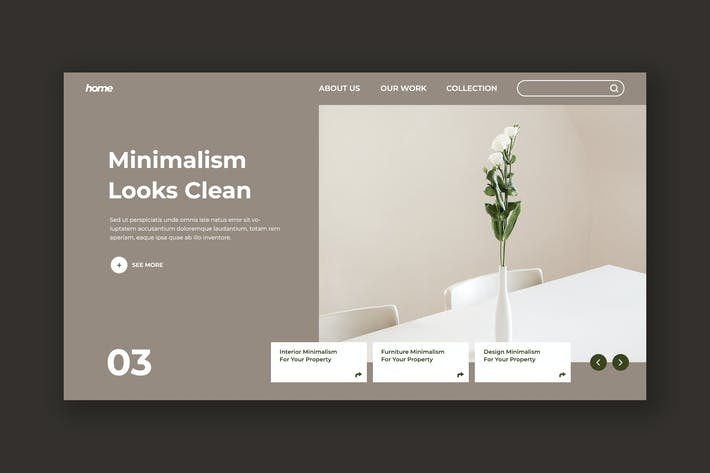 Thumbnail for Minimalism Hero Header PSD Template