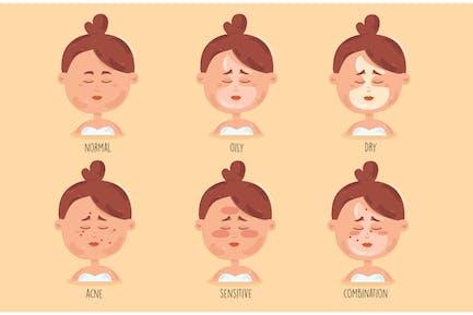Girl Skin Types Cartoon Illustration
