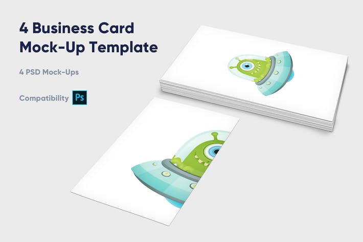 Thumbnail for 4 Business Card Mock-Up Template