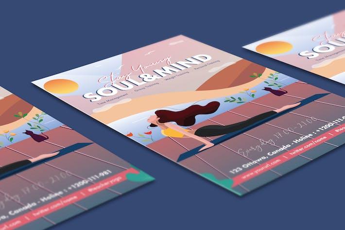 Thumbnail for Beautiful Girl Yoga Training Flyer Illustrator
