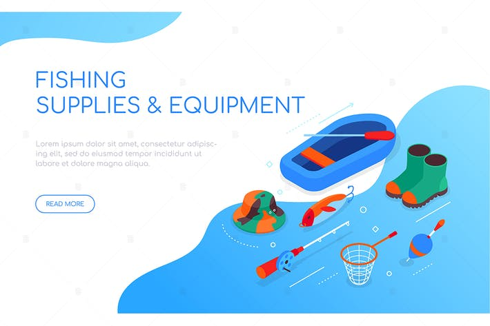 Fishing supplies and equipment - colorful banner