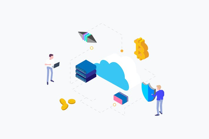 Thumbnail for Cloud Mining Cryptocurrency Isometric Illustration