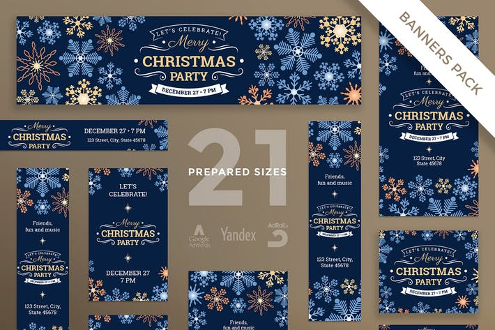 Thumbnail for Christmas Party Banner Pack Template