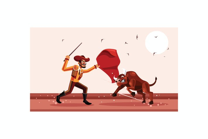 Thumbnail for Matador and Bull Fighting Vector Illustration