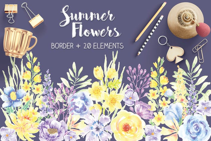 Thumbnail for Summer Flowers: Border and Elements in Watercolor