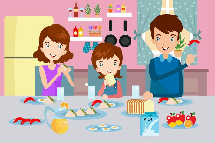 Thumbnail for Mom Dad & Daughter Breakfast Together Illustration