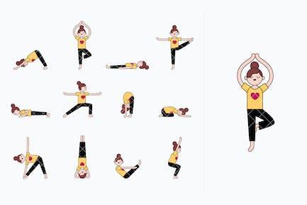 Chica practicando yoga. Poses y ejercicios de yoga.