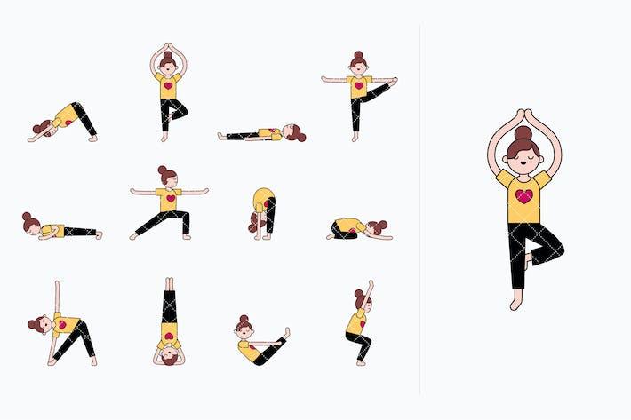 Mädchen praktiziert Yoga. Yoga-Posen und Übungen.